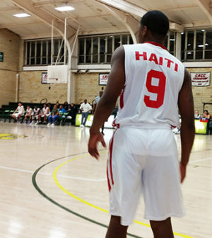 student at Haiti basketball game march 2017